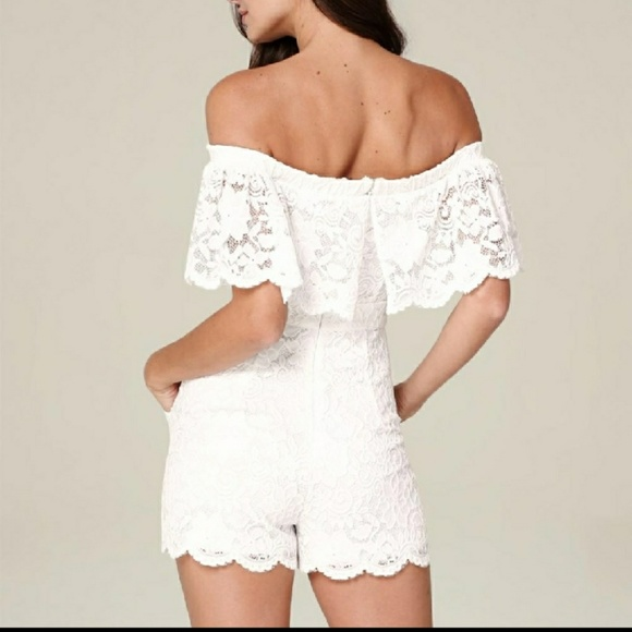 d8fd3a1a744e Bebe off shoulder lace romper